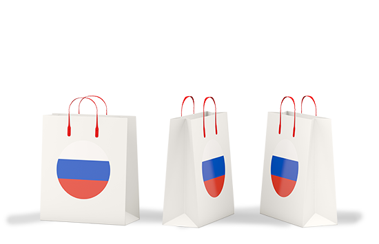 Shopping bags with Russian flag