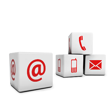 Icon cubes: Telephone and email