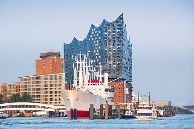 Hamburg: View on harbour and Elbphilharmonie